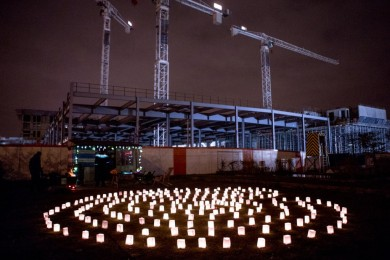 The Golden Labyrinth installation at Light Night Canning Town 2013.