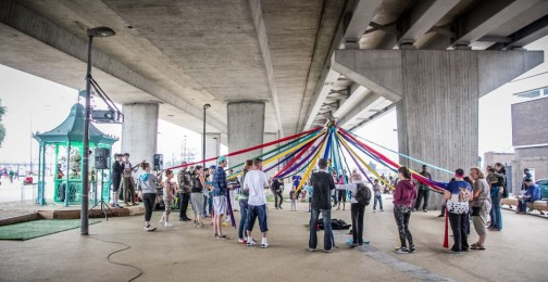 Street Dance the Maypole underneath the A13 flyover in Canning Town, London.