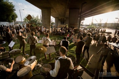 Old Dirty Brasstards perform under the A13 flyover in Canning Town.